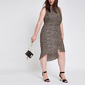 Plus – Robe chemise léopard torsadée devant