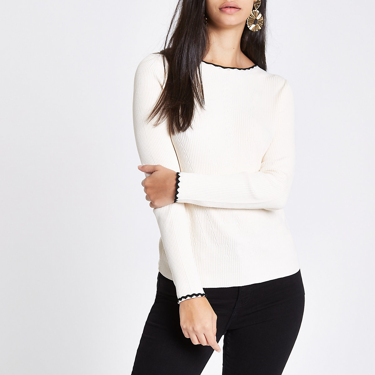 Cream tipped long sleeve turtle neck jumper