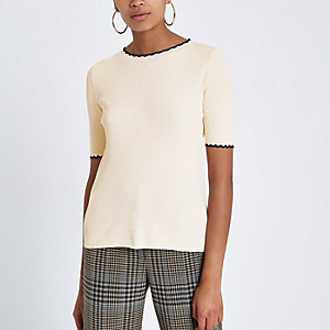 Cream ribbed frill edge tipped T-shirt
