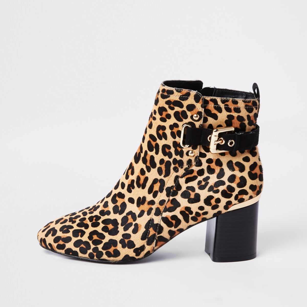 Brown leopard print block heel ankle boots