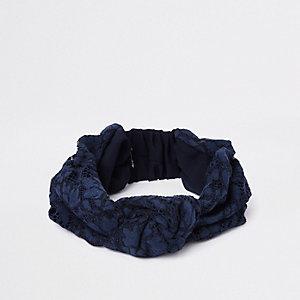Bandeau large à nœud bleu en dentelle