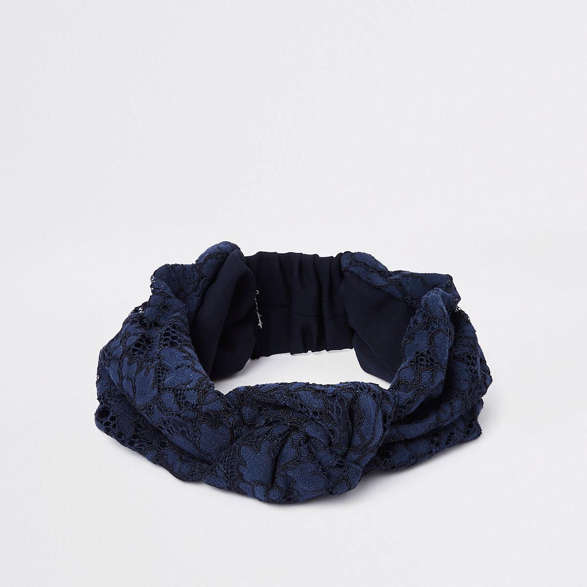 Blue lace wide knot headband