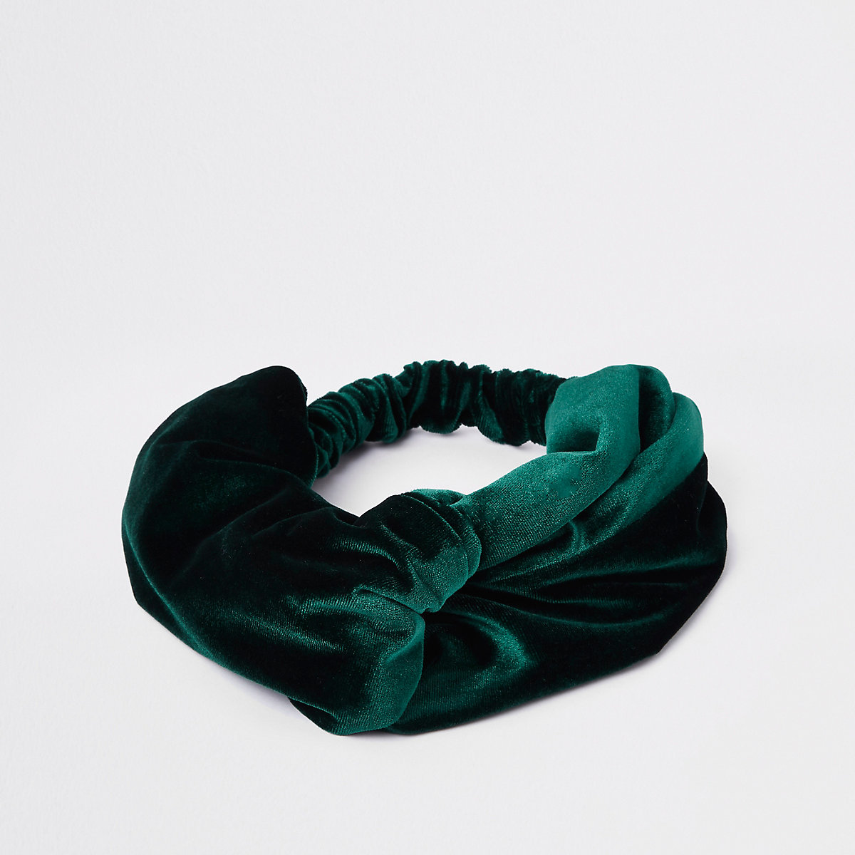 Dark green velvet wide twist headband