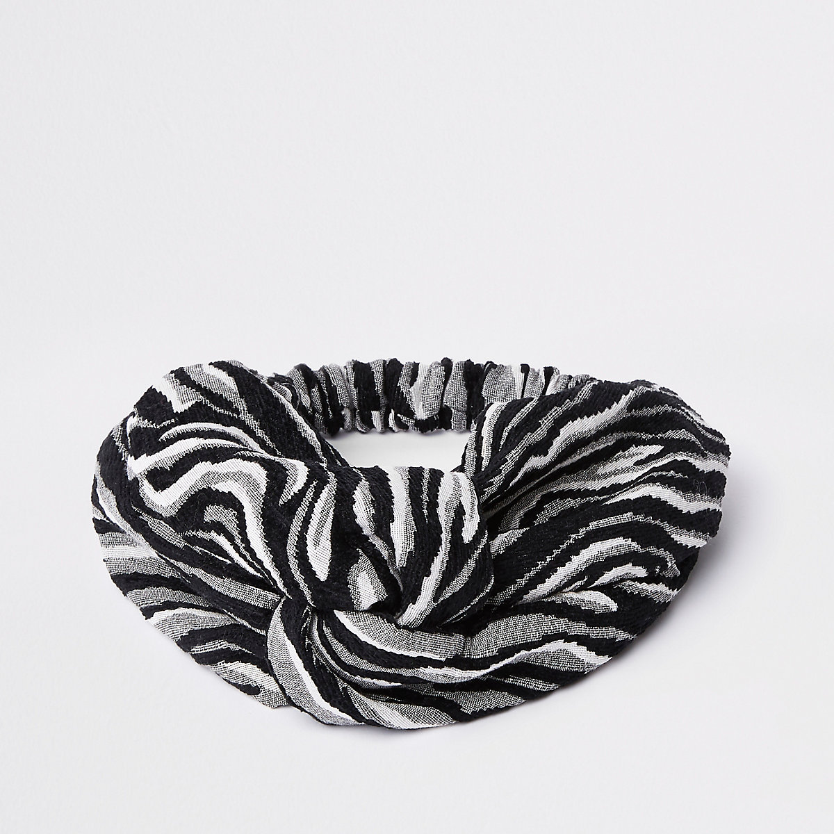 Grey zebra print wide twist headband