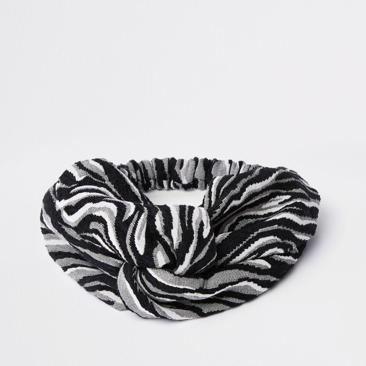 Grey zebra print wide twist headband