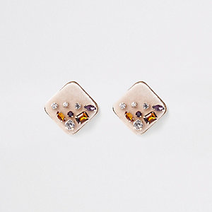 Gold tone rhinestone jewel square earrings