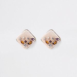 Boucles d'oreilles carrées dorées à strass