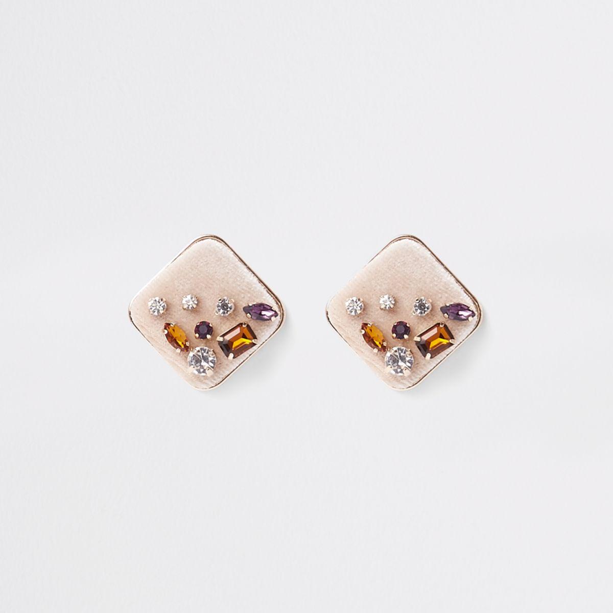 Gold tone rhinestone jewel square earrings