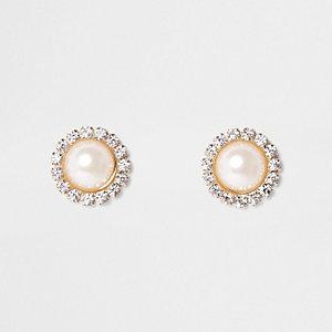 Gold tone round rhinestone pearl stud earrings