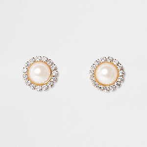 Boucles d'oreilles rondes dorées à strass avec perles