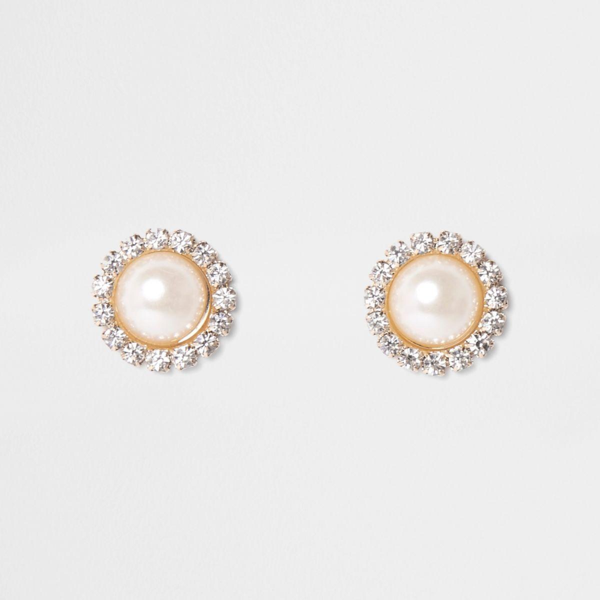Gold tone round diamante pearl stud earrings