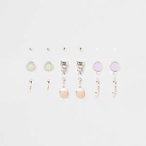Gold tone diamante circle earrings pack