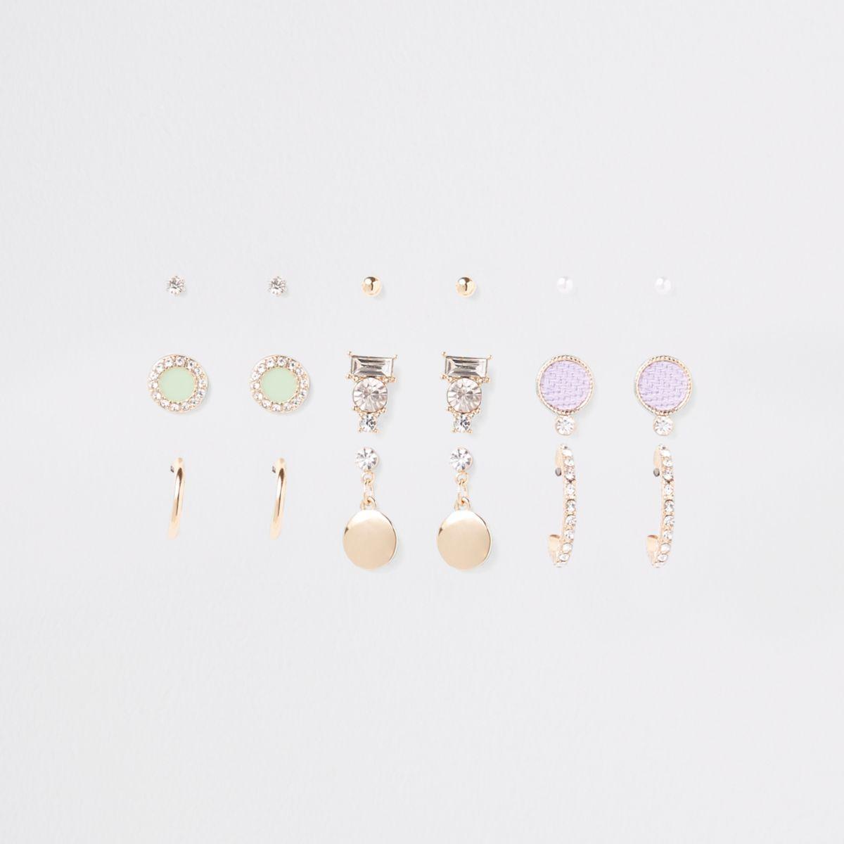 Gold tone rhinestone circle earrings pack