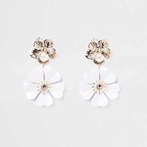 White double flower drop earrings