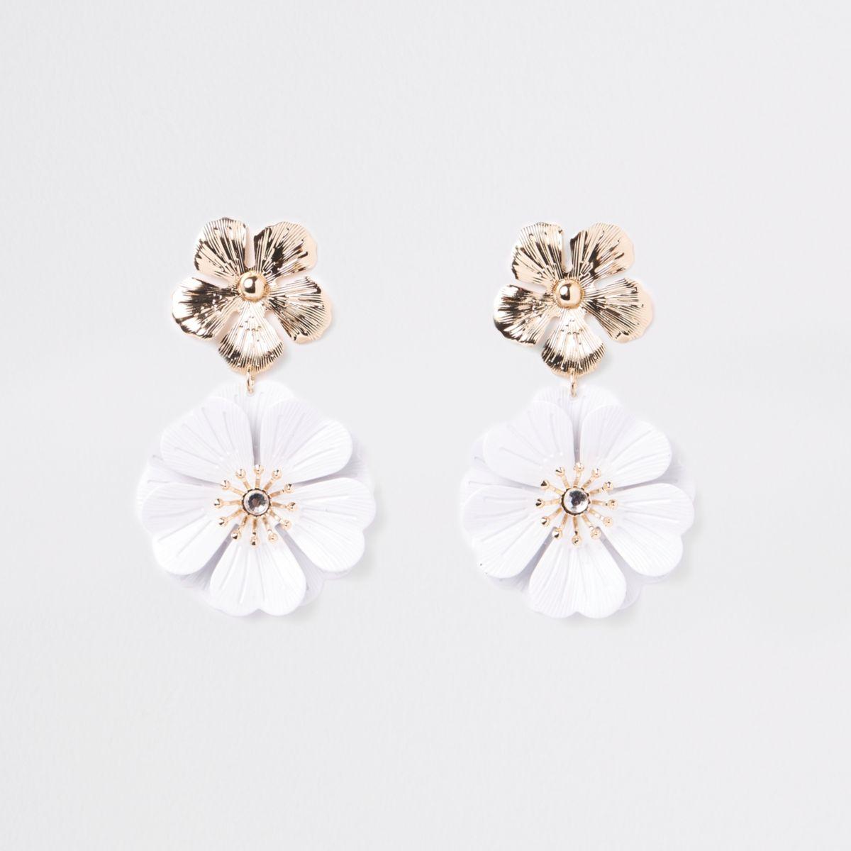 White double flower drop earrings