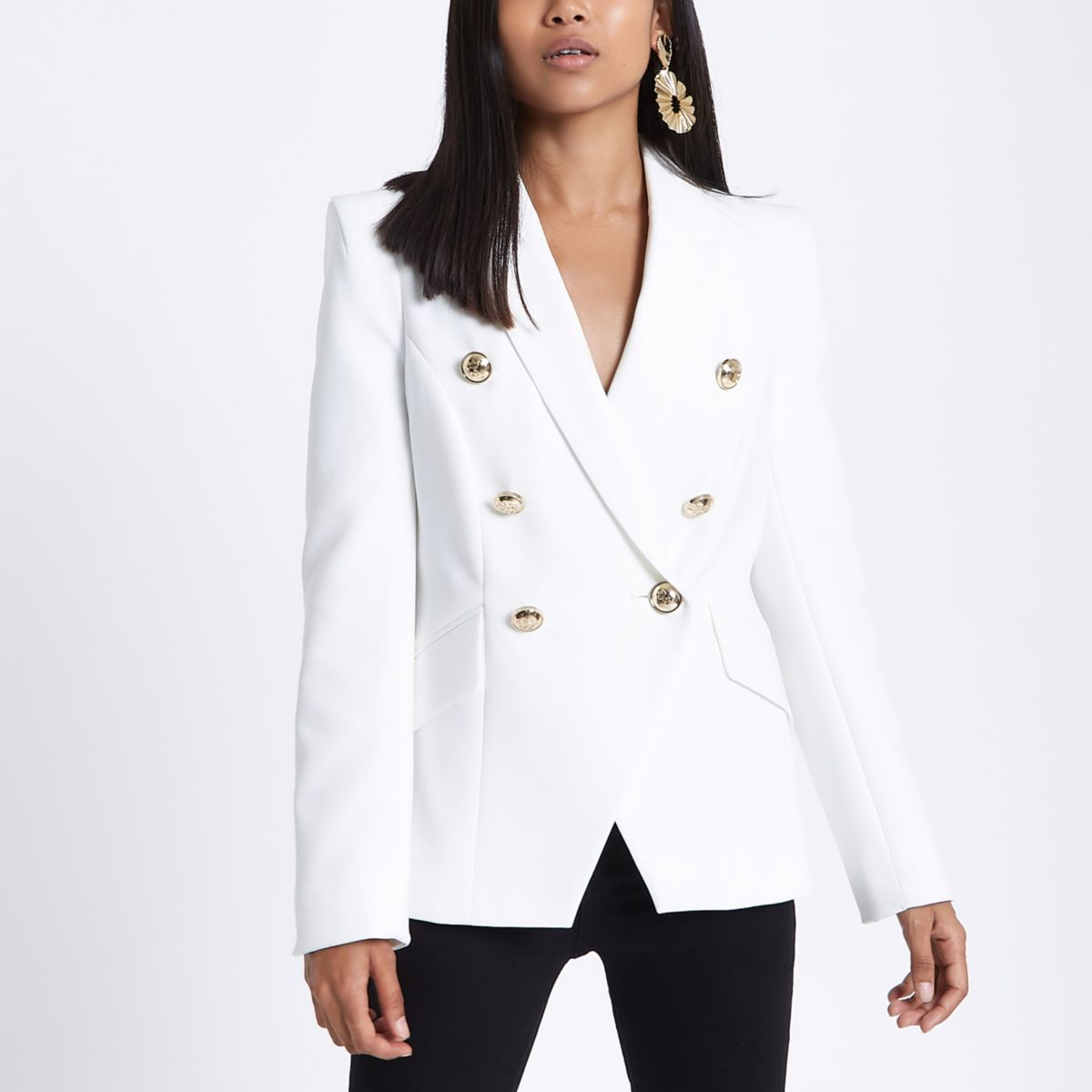 Petite cream double breasted tux blazer