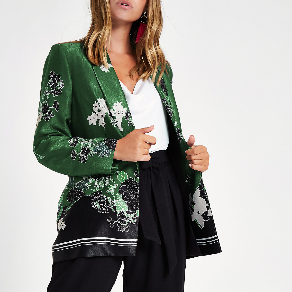 Petite green floral blazer