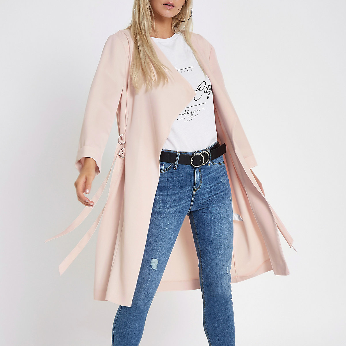 Petite peach D-ring duster coat