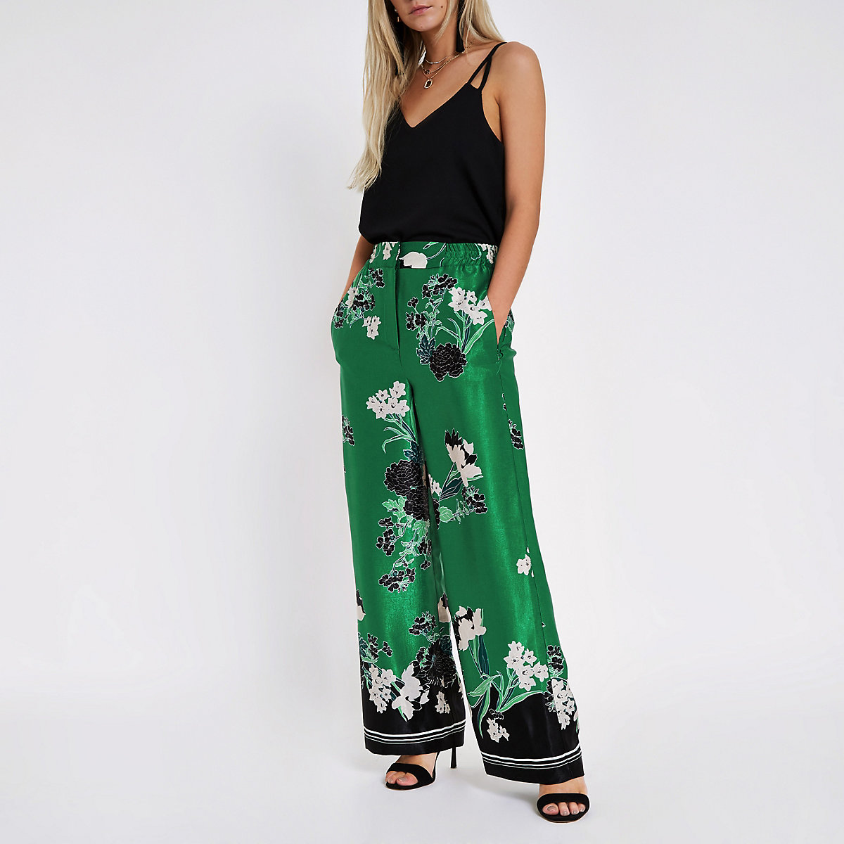 Petite green floral wide leg pants