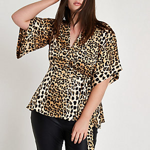 Plus – Kimono mit Leopardenprint