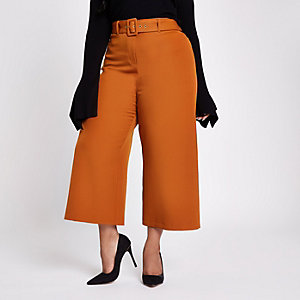 Plus brown belted culottes