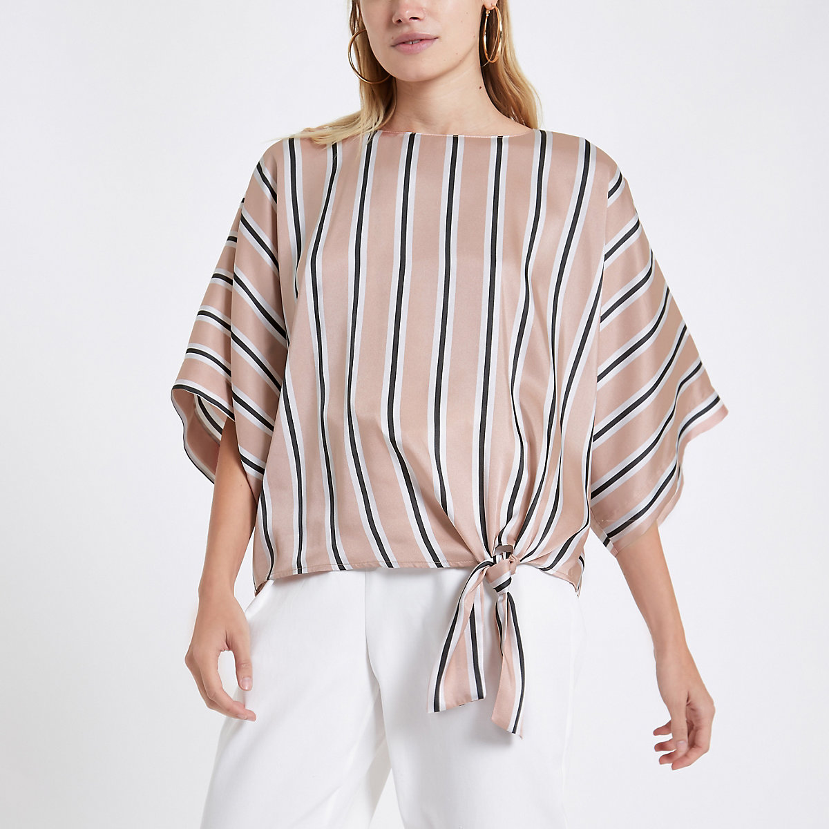 Pink stripe tie knot top