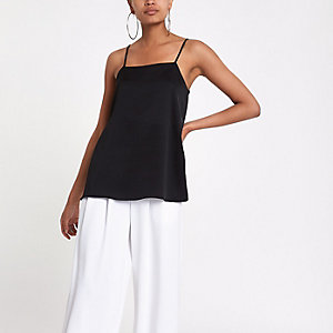 Black square neck cami top