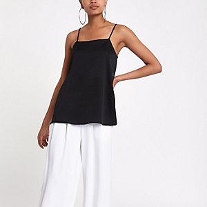 Schwarzes Camisole mit rechteckigem Ausschnitt