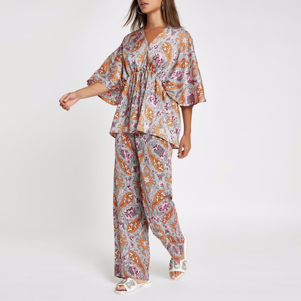 Pink paisley print kimono sleeve top