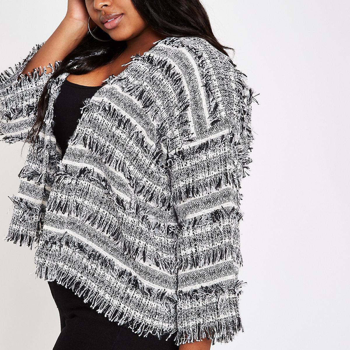 c881872c27a Plus black boucle knit jacket - Jackets - Coats   Jackets - women