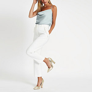 Light blue cowl neck cami top