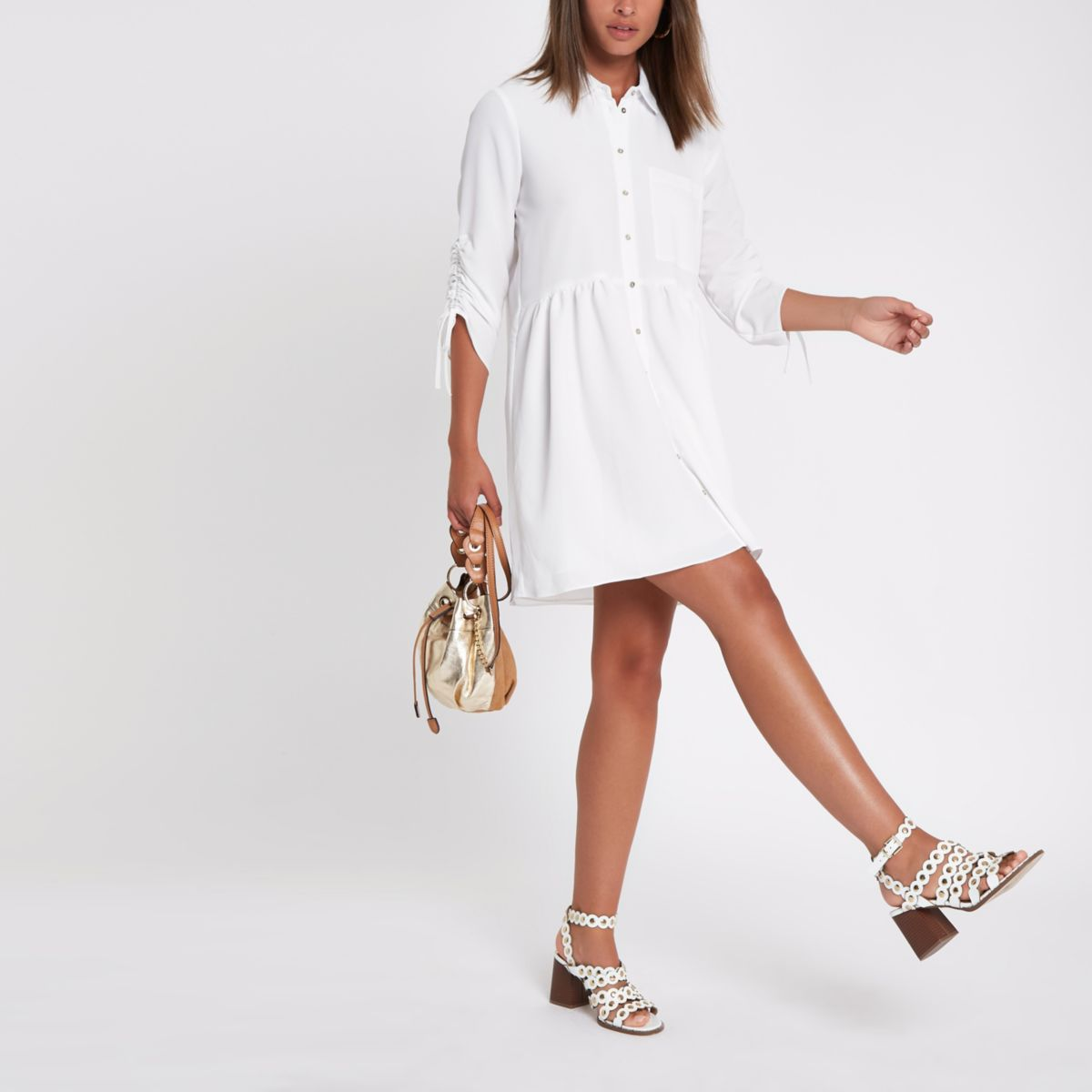 White ruched sleeve shirt dress