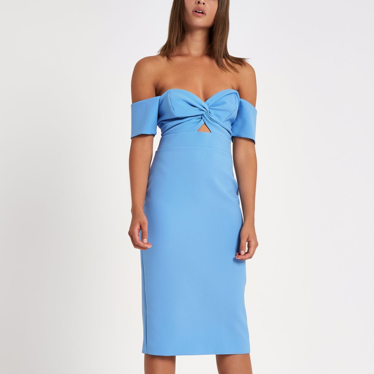 Bright blue bardot bodycon dress