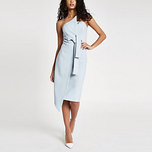 Light blue bandeau bodycon midi dress