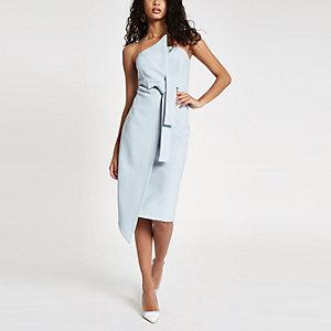 Lichtblauwe bodycon midi-jurk met bandeau