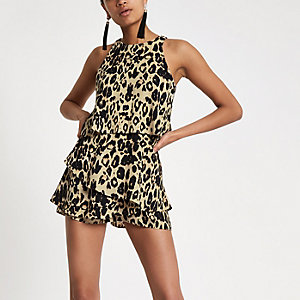Brown leopard print tiered frill playsuit
