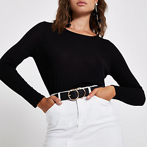 Zwart T-shirt met lage hals en lange mouwen