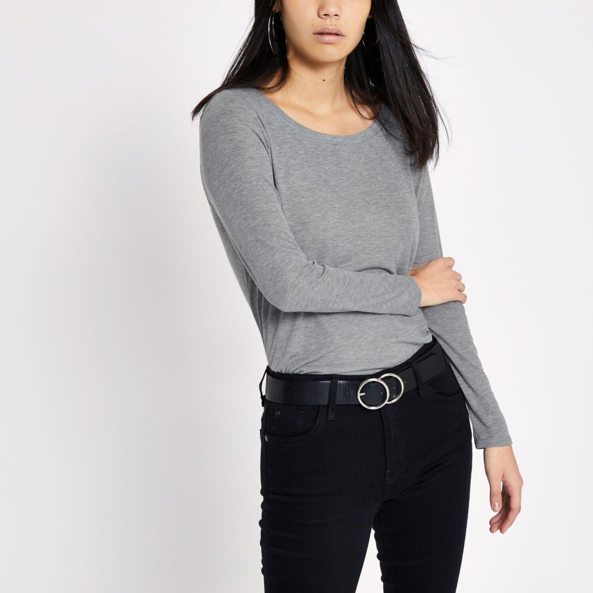 Grey scoop neck long sleeve T-shirt