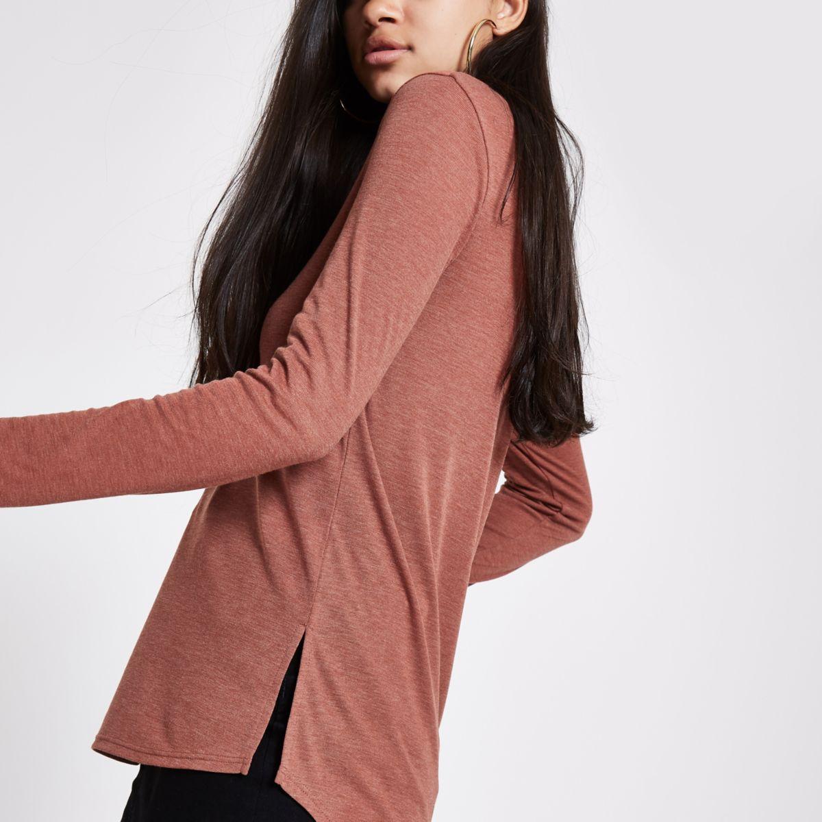 Light brown scoop neck T-shirt