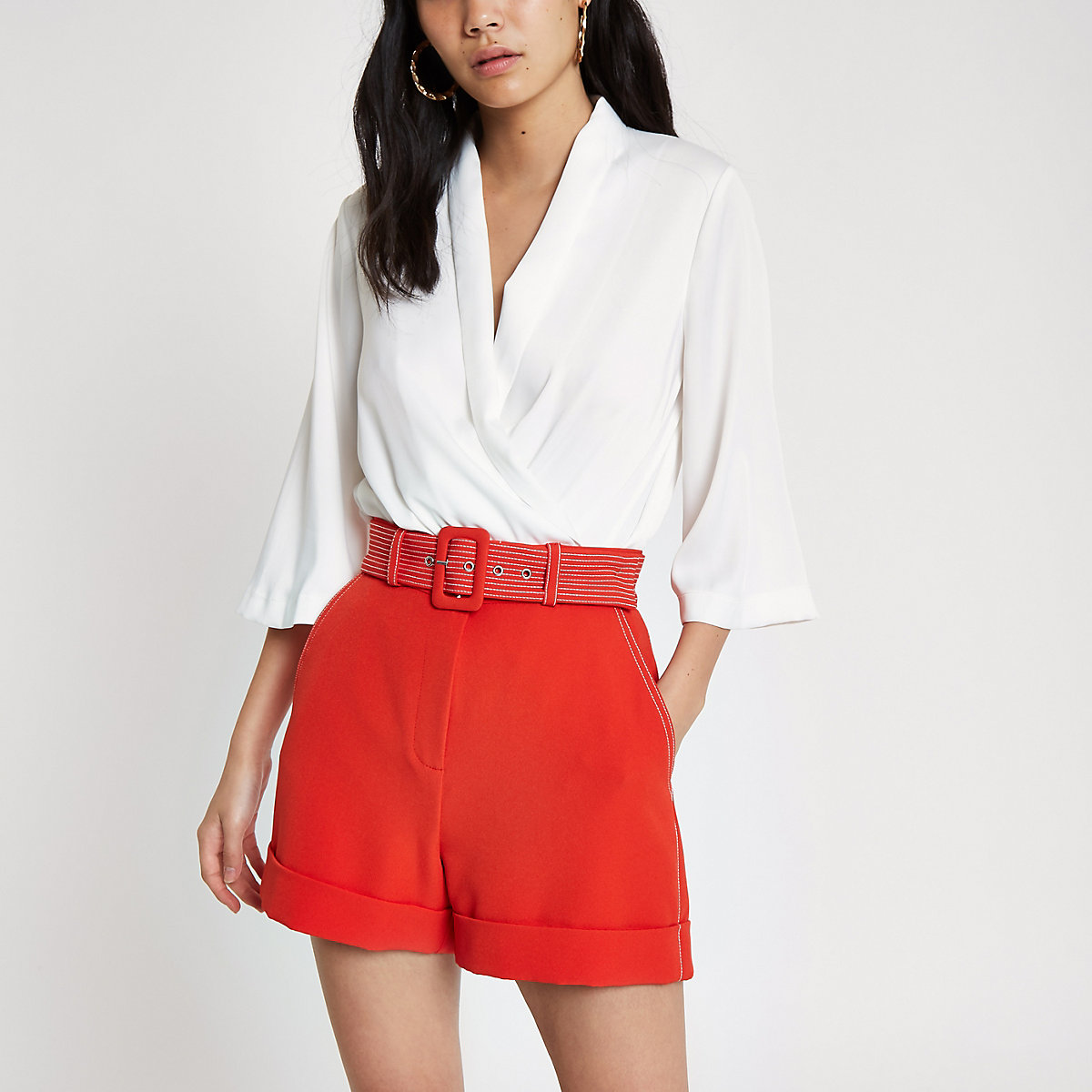 Red contrast stitch belted shorts