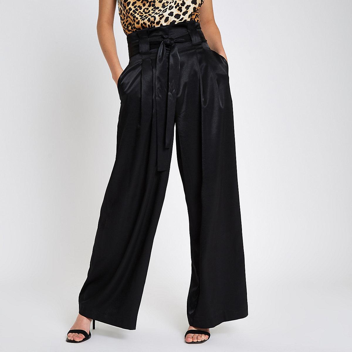 Black paperbag tie waist wide leg trousers