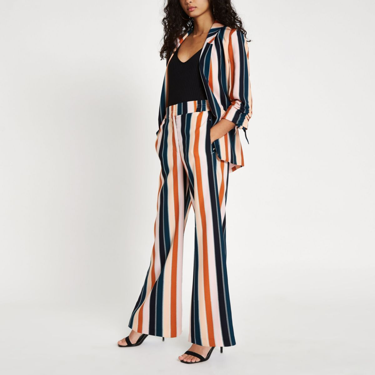 Pink stripe wide leg trousers