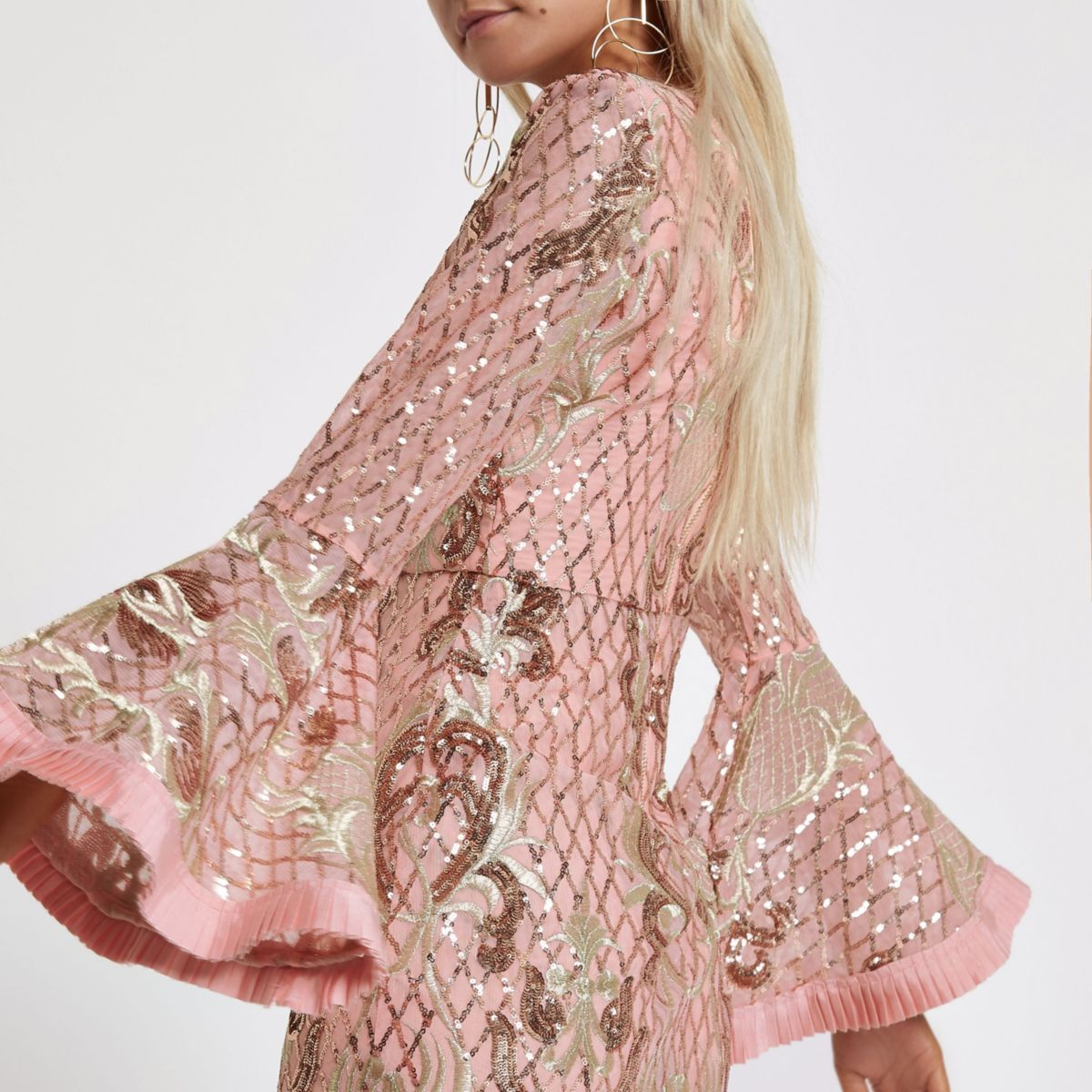 Petite pink sequin embellished maxi dress
