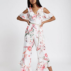 Pink frill cold shoulder floral jumpsuit