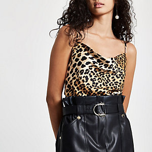 Brown leopard print cowl neck cami top