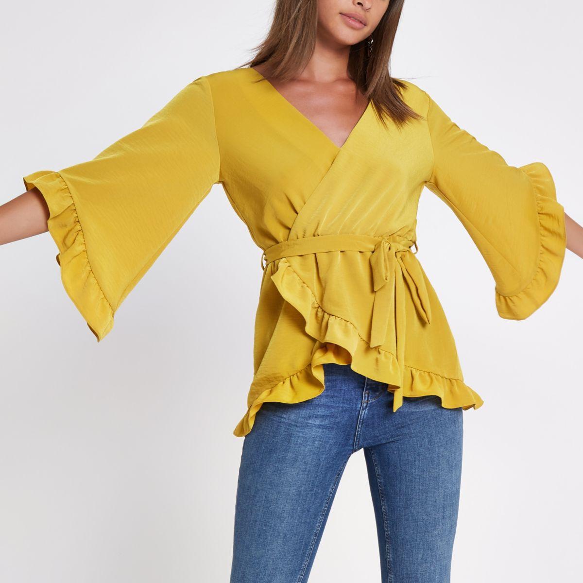 Yellow wrap tie waist frill blouse