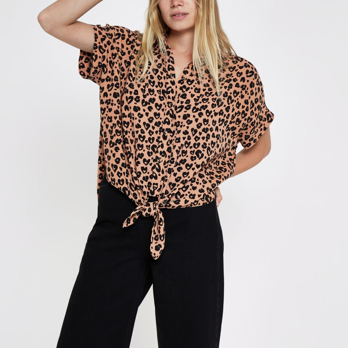 Brown leopard print tie front shirt