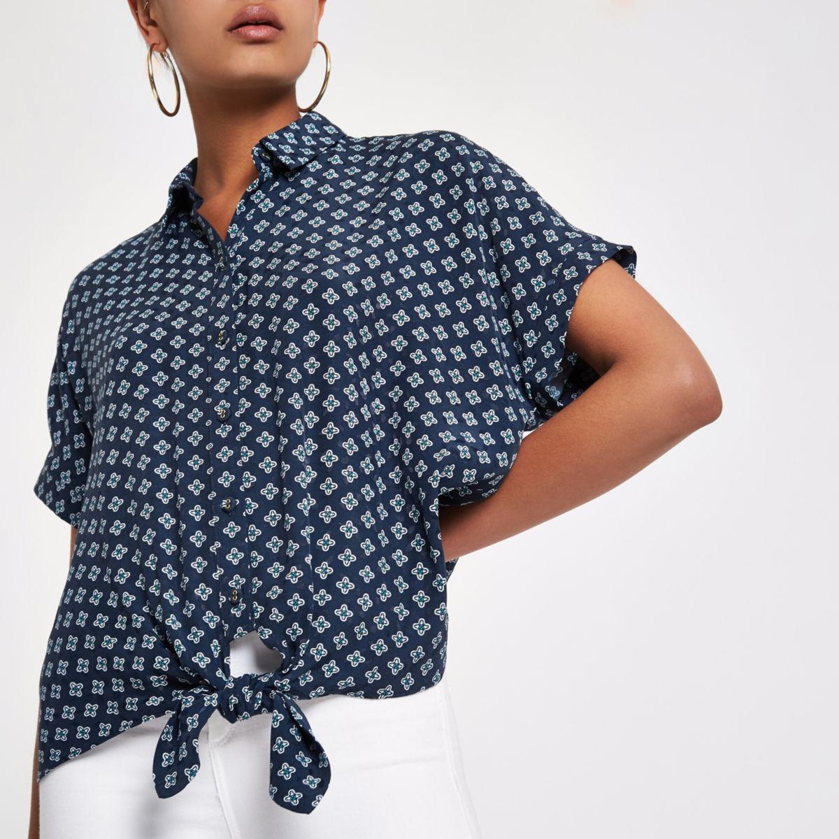 Navy print tie front shirt