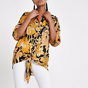 Yellow floral print tie front top