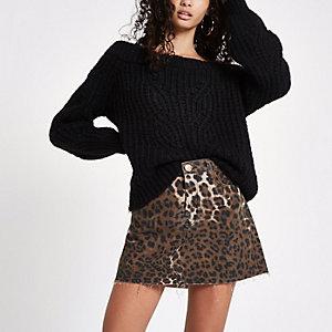 Brauner Minirock mit Leopardenprint